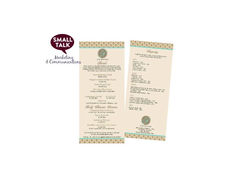 Branding Sample - Avila Skin Studio's Menu Rack Card