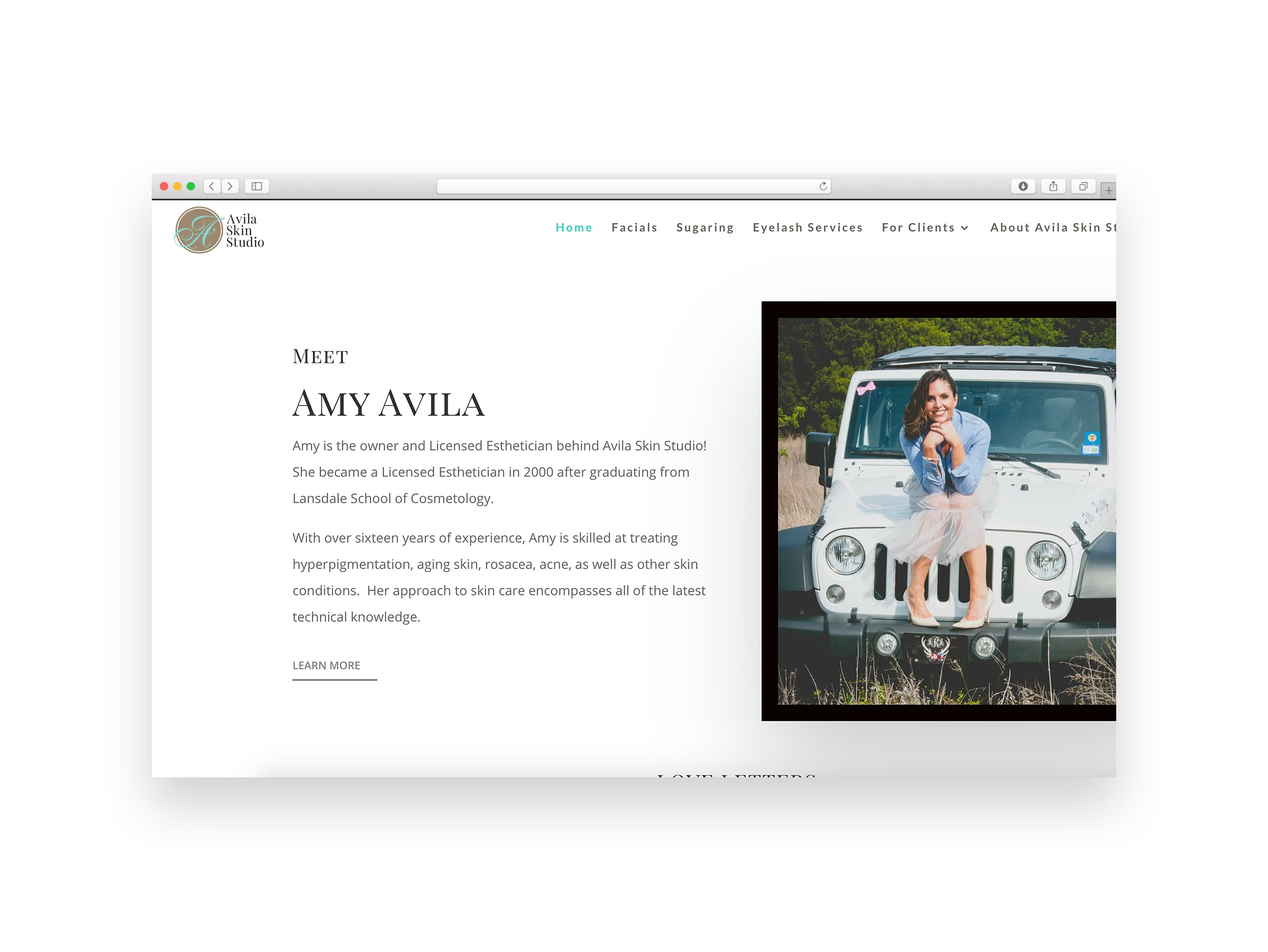 Interior page of Avila Skin Studio's site