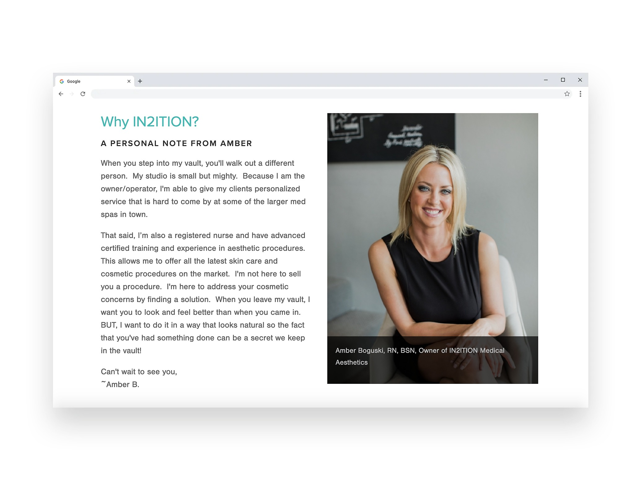 Interior page sample from In2ition medical esthetics website