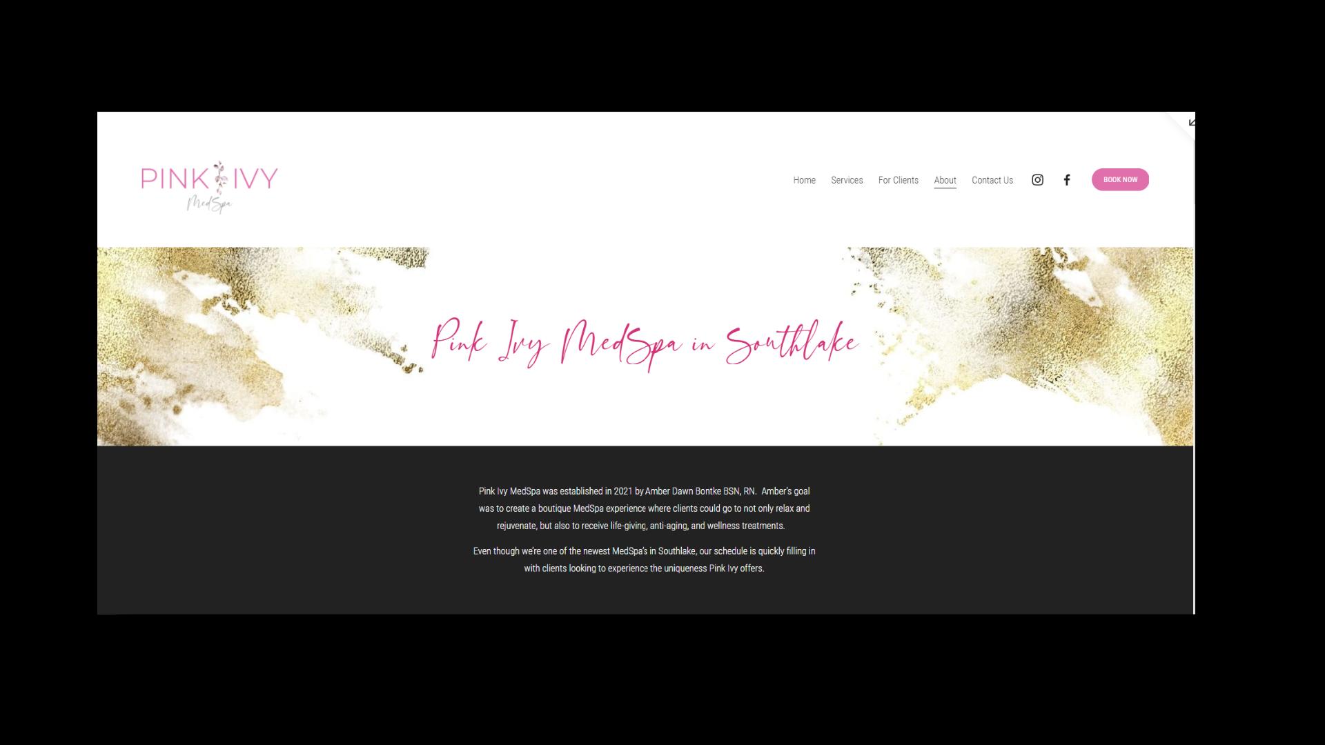 Pink Ivy Website Interior Page Sample